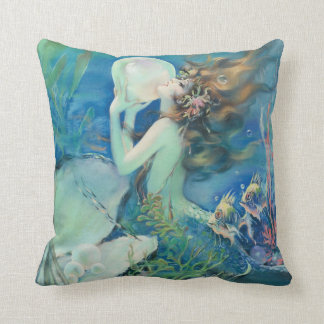 Vintage Mermaid w Pearl Nautical Ocean Nautical Throw Pillow