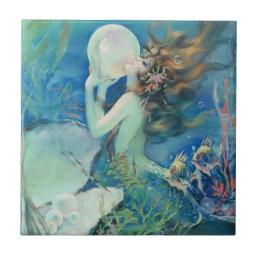 Vintage Mermaid w Pearl Nautical Ocean Nautical Tile