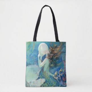 Vintage Mermaid w Pearl Nautical Ocean Nautical Tote Bag