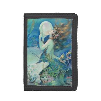 Vintage Mermaid w Pearl Nautical Ocean Nautical Tri-fold Wallets