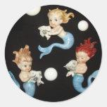 Vintage Mermaids Round Stickers