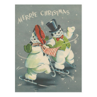 Vintage Merrie Christmas Snowman Couple Postcard