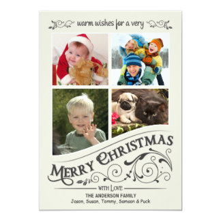 Vintage Merry Chistmas Holiday 4-Photo Flat Card