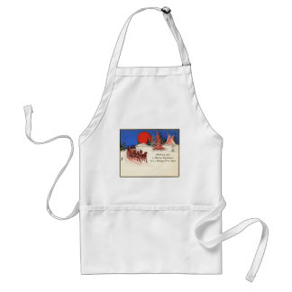 Vintage Merry Christmas and Happy New Year Apron