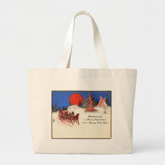 Vintage Merry Christmas and Happy New Year Canvas Bag