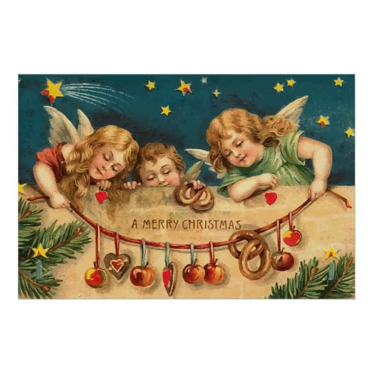 Vintage Merry Christmas Angels Poster