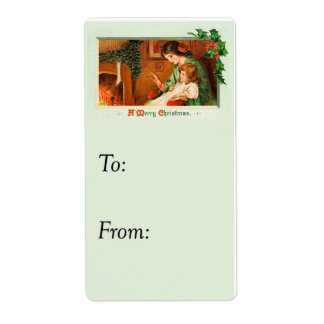Vintage Merry Christmas At The Fireplace Gift Tag