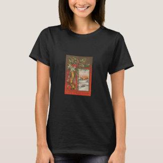 Vintage Merry Christmas Bells Black T-Shirt