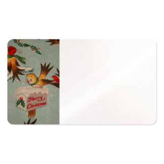 Vintage Merry Christmas Birds Double-Sided Standard Business Cards (Pack Of 100)