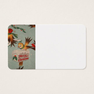 Vintage Merry Christmas Birds Business Card