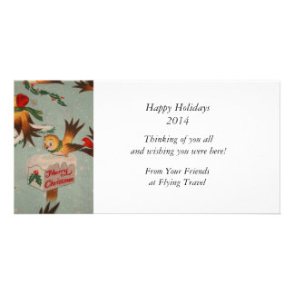 Vintage Merry Christmas Birds Card