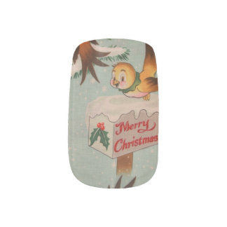 Vintage Merry Christmas Birds Minx® Nail Art