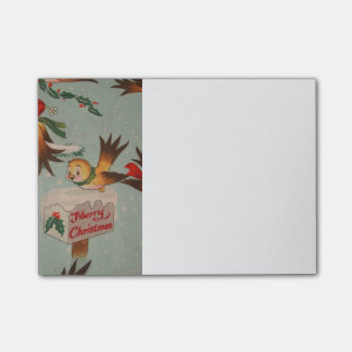 Vintage Merry Christmas Birds Post-it Notes