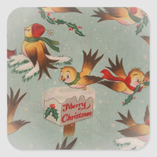 Vintage Merry Christmas Birds Square Stickers