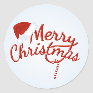 Vintage Merry Christmas Candy Classic Round Sticker