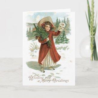 Vintage Merry Christmas Card card