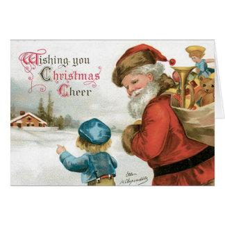 Vintage Merry Christmas Card  - Old Fahion Santa