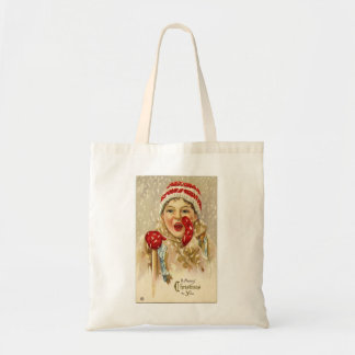 Vintage Merry Christmas Child in the Snow Tote Bag