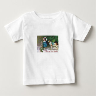 Vintage Merry Christmas Children and Dogs Baby T-Shirt