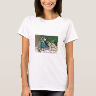 Vintage Merry Christmas Children and Dogs T-Shirt