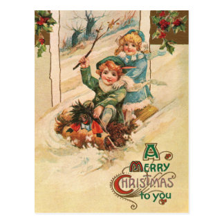 Vintage Merry Christmas Children on Sleight Postcard