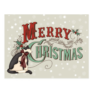 Vintage Merry Christmas Country Cat Holiday Postcard