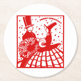 Vintage Merry Christmas Couple Round Paper Coaster