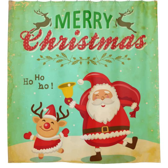 Christmas Dancing Santa.Vintage Merry Christmas Dancing Santa And Reindeer Shower Curtain