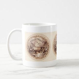Vintage Merry Christmas Dinner Sepia Mug