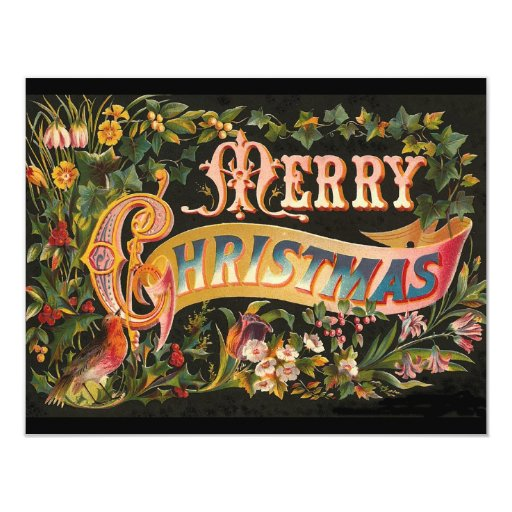 Vintage Merry Christmas Flower Design Announcement