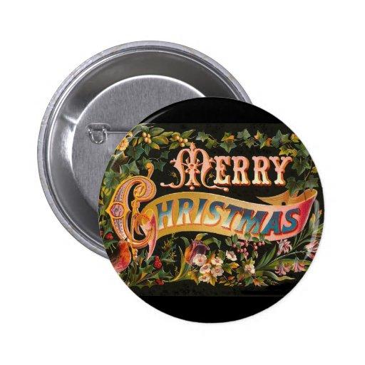 Vintage Merry Christmas Flower Design Button