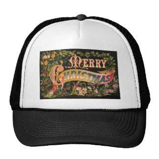 Vintage Merry Christmas Flower Design Trucker Hat