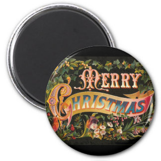 Vintage Merry Christmas Flower Design Magnet