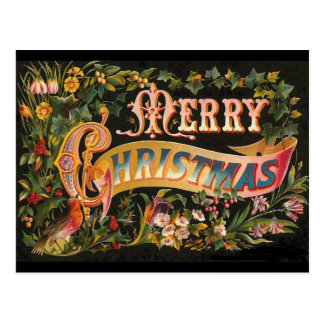Vintage Merry Christmas Flower Design Postcards
