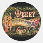 Vintage Merry Christmas Flower Design Sticker