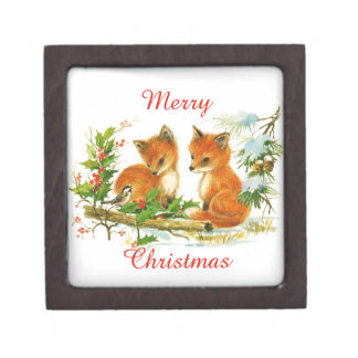 Vintage Merry Christmas Foxes Jewelry Box