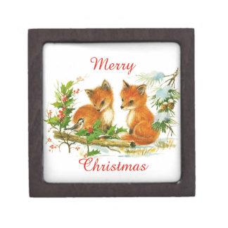 Vintage Merry Christmas Foxes Premium Keepsake Boxes