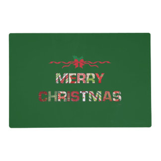 Vintage Merry Christmas Holiday Placemat