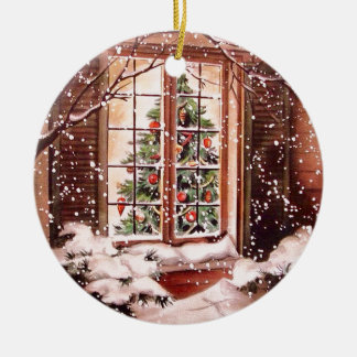 Vintage Merry Christmas House Ceramic Ornament