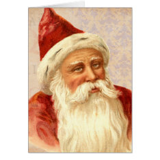 Vintage Merry Christmas Kindly Old Fashioned Santa Card at Zazzle