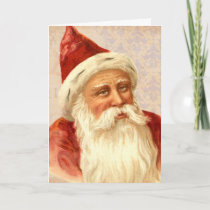 Vintage Merry Christmas Kindly Old Fashioned Santa Holiday Card