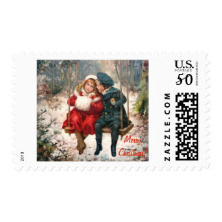 Vintage Merry Christmas postage stamp.