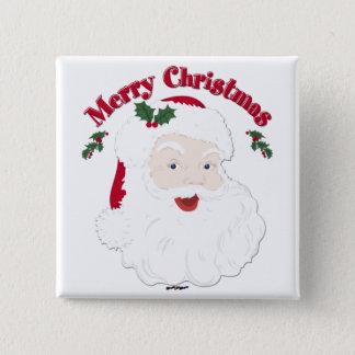 Vintage Merry Christmas Santa Button