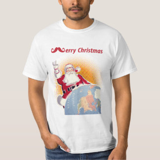 Vintage Merry Christmas Santa Claus Mustache Tee