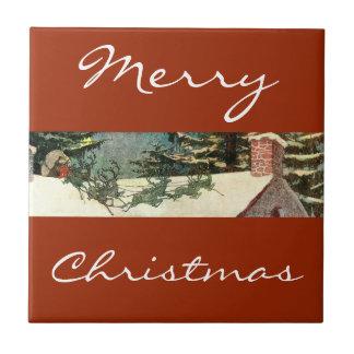 Vintage Merry Christmas Santa Claus Ceramic Tiles
