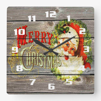 Vintage Merry Christmas & Santa on Rustic old Wood Square Wall Clock
