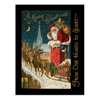Vintage Merry Christmas Santa Sleigh Reindeer Postcard