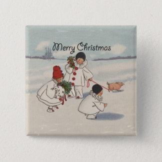Vintage Merry Christmas Snow Children Art Print Button