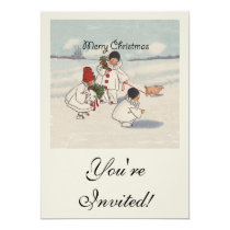Vintage Merry Christmas Snow Children Artwork Card