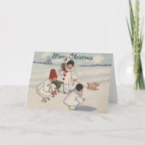 Vintage Merry Christmas Snow Children Holiday Card